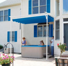 Pergola awning over hot tub